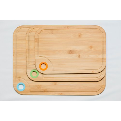 Culinary Edge 3 Piece Bamboo Cutting Board Set with Silicone Ring