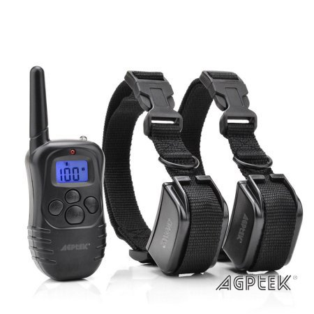AGPtek Wireless LCD digital Smart Electric Shock Remote Control Training Collar Pet System for 2 (Best Smart Dog Collar)