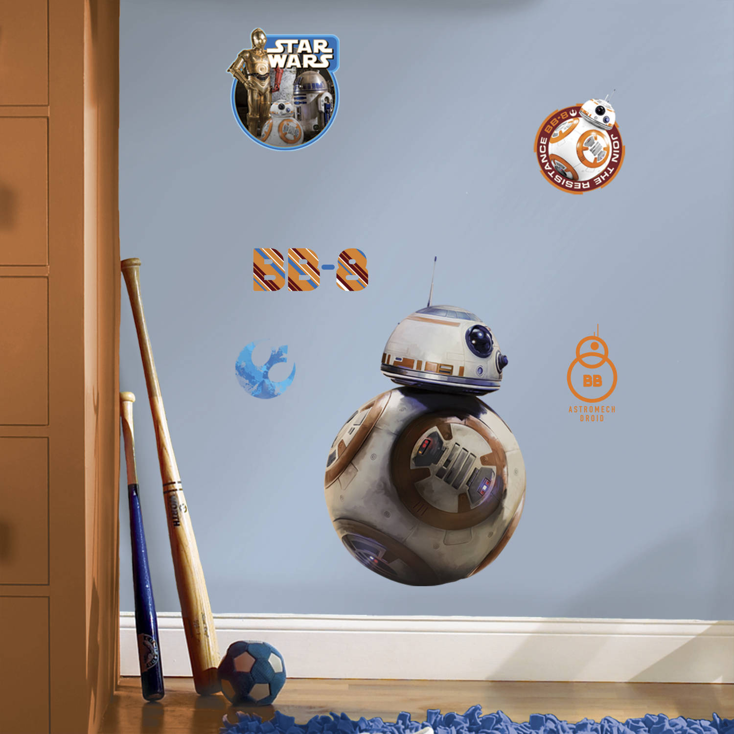 RoomMates Star Wars Episode VII BB-8 Peel and Stick Giant Wall Decal
