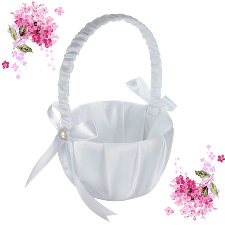 White Satin Beaded Flower Girl Basket Bowknot Decor for Wedding Ceremony Party (Baskets For Girls)