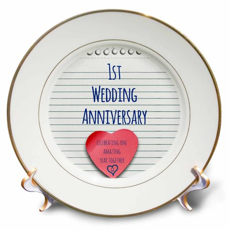 3dRose 1st Wedding Anniversary gift - Paper celebrating 1 year together - first anniversaries - one yr, Porcelain Plate, 8-inch