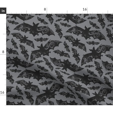 Ornate Bats Spooky Dark Cave Wings Haunted Fabric Printed by Spoonflower BTY Fabric Printed Felt