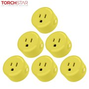 LITEdge Smart Plug Work, Mini Smart Outlet Voice Control, No Hub Required, Only Supports 2.4GHz Network, Timer Function, ETL Listed, Yellow Finish, Pack of 6