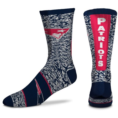 Men's For Bare Feet New England Patriots Ticket Heathered Crew Socks -