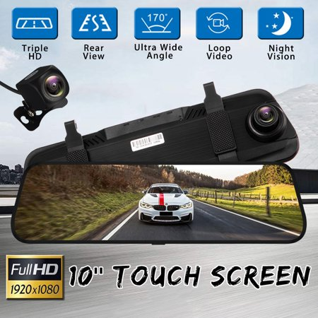 "10"" Inch FHD 1080P Car DVR Dual Lens Dual Lens Car Rear View Rearview Mirror DVR Camera Dash Cam with Night Vision, Video Recording, G-Sensor, Motion Detection"