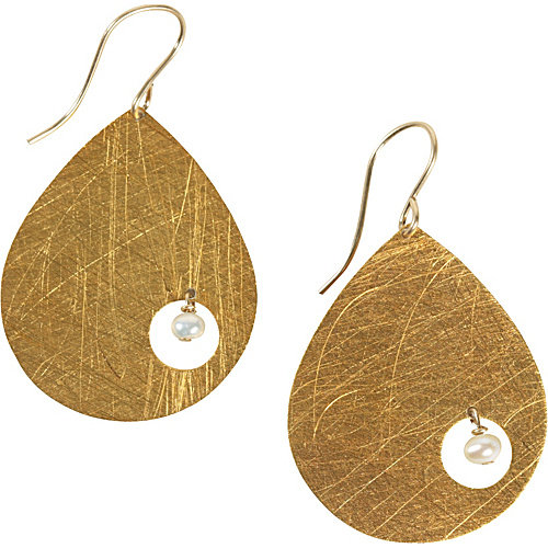 Zina Kao Exclusives Large Teardrop Earring with Small Pearl