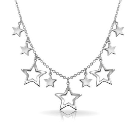 Patriotic Multi Stars Dangling Lucky American Rock Star Collarbone Statement Necklace for Women Shinny Sterling (Lucky Star Necklace)