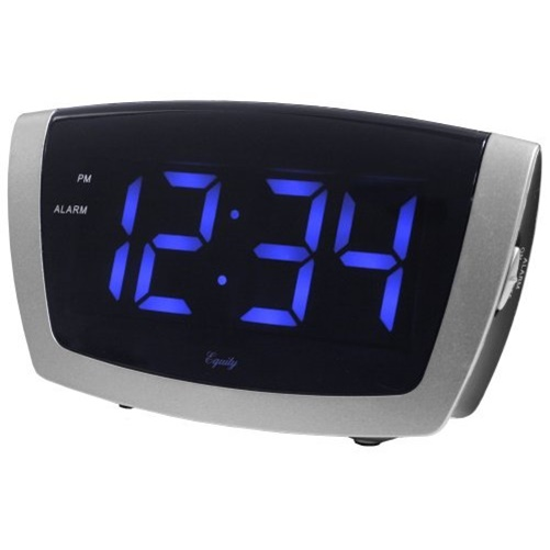 Equity by La Crosse 75904 Large Blue LED Alarm Clock with USB Port