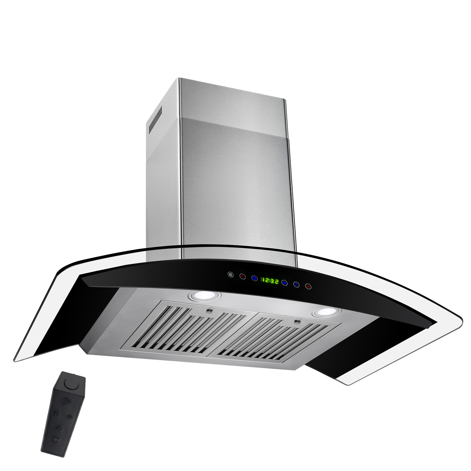 """AKDY 30"""" Stainless Steel Wall Mount Range Hood with Gas Sensor Remote Control Tempered Glass Touch Panel Kitchen Cooking Fan"""
