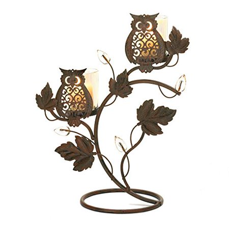 WISE OWL VOTIVE CANDLE HOLDER STAND TABLE DECOR CENTERPIECE~10016361