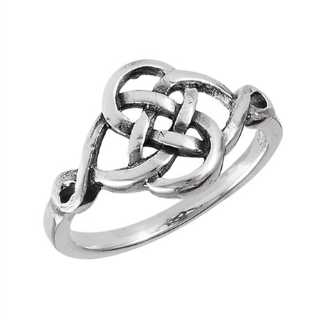 Oxidized Celtic Infinity Knot Ring New 925 Sterling Silver Weave Band Size 7 ()