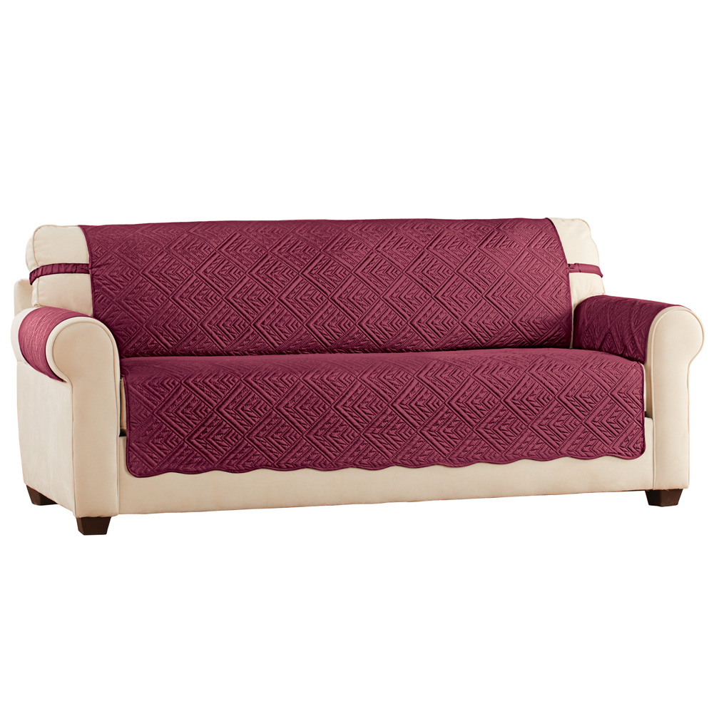 Quilted Diamonds Furniture Cover Protector with Stay in Place Straps, Scalloped Edges, Loveseat, Burgundy/Taupe