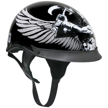 Outlaw Helmets Outlaw T-72 Dual-Visor Glossy Motorcycle Half Helmet with Graphics of Viking God and Viking Symbols Black Small - Real Viking Helmet For Sale