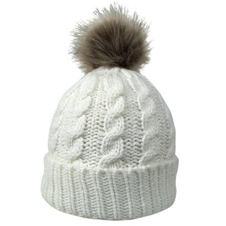 0a18bfa59d6 Women Winter Warm Knitted Faux Fur Pom Pom Beanie Hat Cream - Walmart.com