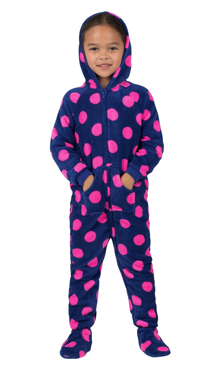Footed Pajamas - Footed Pajamas - Navy Pink Polka Toddler Hoodie Chenille  Onesie - Walmart.com 64dcb4153