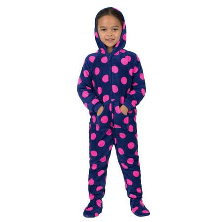 Footed Pajamas - Footed Pajamas - Navy Pink Polka Toddler Hoodie ... 98949dafb