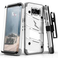 ZIZO BOLT Series Samsung Galaxy S8 Plus Case Military Grade Drop Tested with Tempered Glass Screen Protector Holster TAN CAMO GREEN