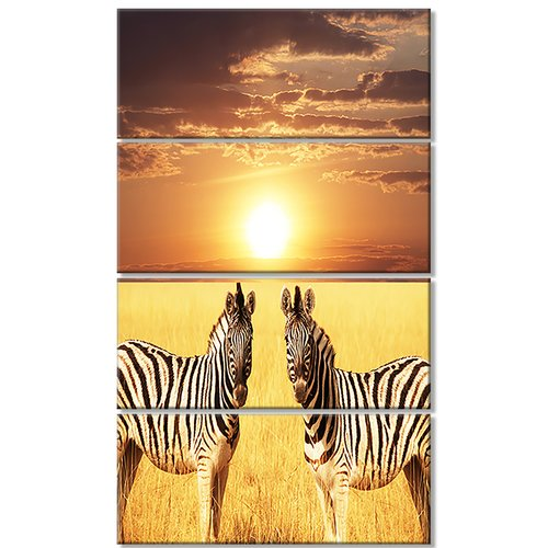 Design Art 'Pair of Zebras in Field at Sunset' 4 Piece Photographic Print on Wrapped Canvas Set