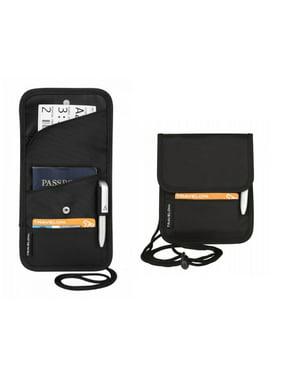 ID Boarding Pass Holder Snap Closure Secure Passport Travel Wallet Neck