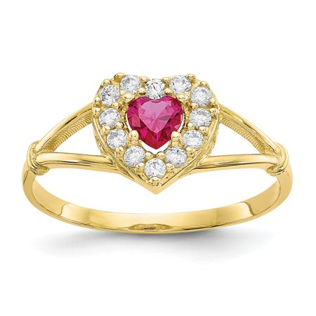 10k Yellow Gold Red White Cubic Zirconia Cz Heart Band Ring Size 8.00 S/love Gifts For Women For Her