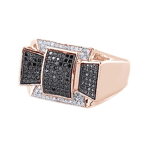 Black & White Cubic Zirconia Wedding Band Ring For Men's In 14k Rose Gold Over Sterling Silver (0.61 Cttw) By Jewel Zone US