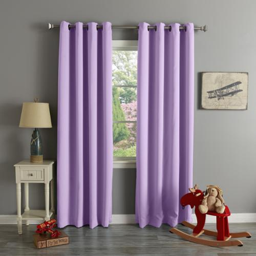 Aurora Home Grommet Top Thermal Insulated Blackout Curtain Panel Pair Lavender 84-inch