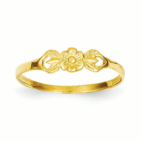Childs Flower Ring - 14K Yellow Gold Baby and Children Flower Ring, Size 5