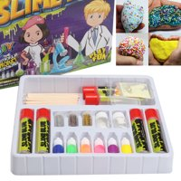 DIY Fluffy Slime Kit Crystal Slime Making Kit Christmas Gift with 8 Colors Slime ,1 Pack Colorful Foam Balls,1 pack Fresh Fruit Decoration,4 Bottles Holographic Glitter Shake Jars