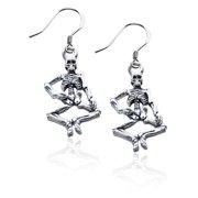 Skeleton Charm Earrings in Silver