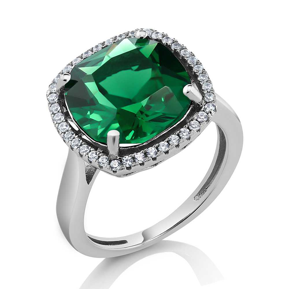 4.00 Ct Vintage Style 925 Sterling Silver Cushion Cut Green Nano Emerald Ring