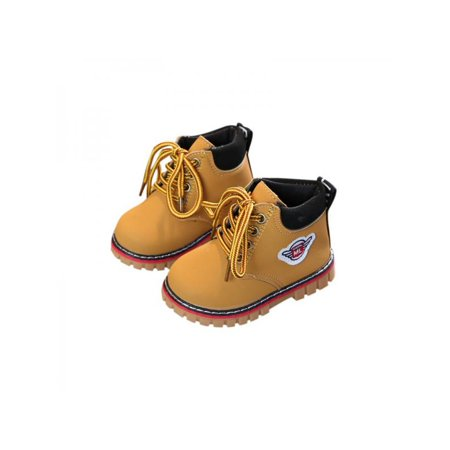 Winter Kids Girls Boys Leather Snow Boots Child Warm Martin Boots Shoes