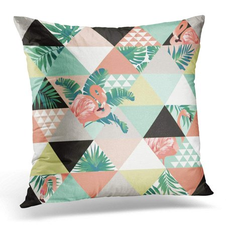ARHOME Exotic Beach Trendy Patchwork Illustrated Floral Tropical Banana Leaves Jungle Pink Flamingos Mosaic Throw Pillow Case Pillow Cover Sofa Home Decor 16x16 Inches
