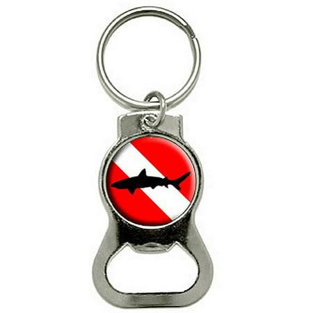 Diving Flag Scuba Diver Dive Shark Bottle Cap Opener Keychain Key Ring - Shark Rings