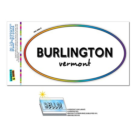 Burlington, VT - Vermont - Rainbow - City State - Oval Laminated Sticker - Party City Burlington Ma