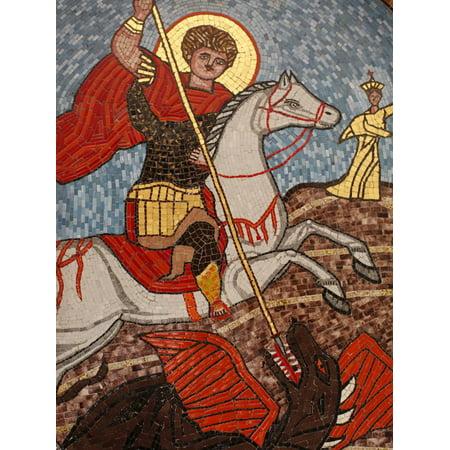 Mosaic of St. George Slaying the Dragon in St. George Coptic Orthodox Church, Cairo, Egypt Print Wall Art
