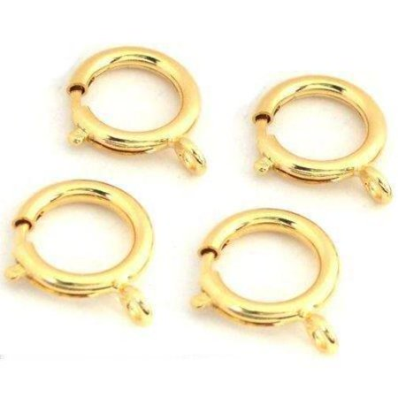 4 Yellow Gold Plated Spring Ring Clasps Findings 18mm