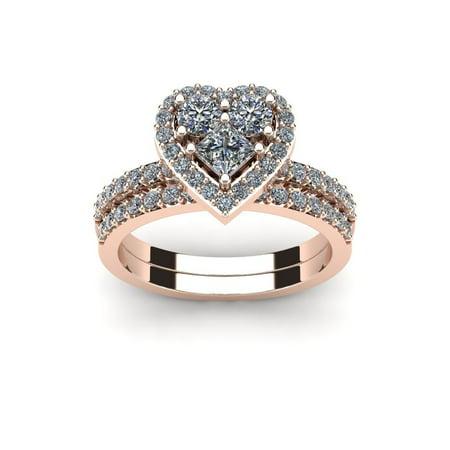 1 Carat Heart Shaped Bridal Engagement Ring Set in 14K Rose Gold - White I-J