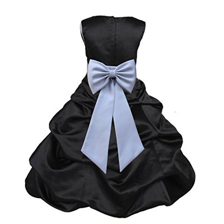 Ekidsbridal Black Satin Pick-Up Bubble Flower Girl Dress Pageant Wedding Formal Special Occasions Dresses Recital Reception Party Ball Gown Graduation Birthday Girl Ceremony Princess 808T