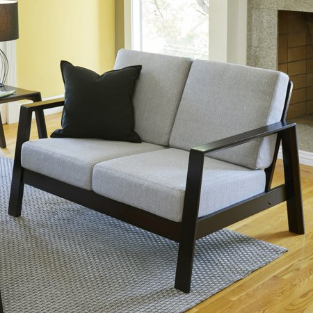 Handy Seat - Handy Living  Columbus Mid Century Modern Dove Grey Linen Loveseat with Exposed Wood Frame