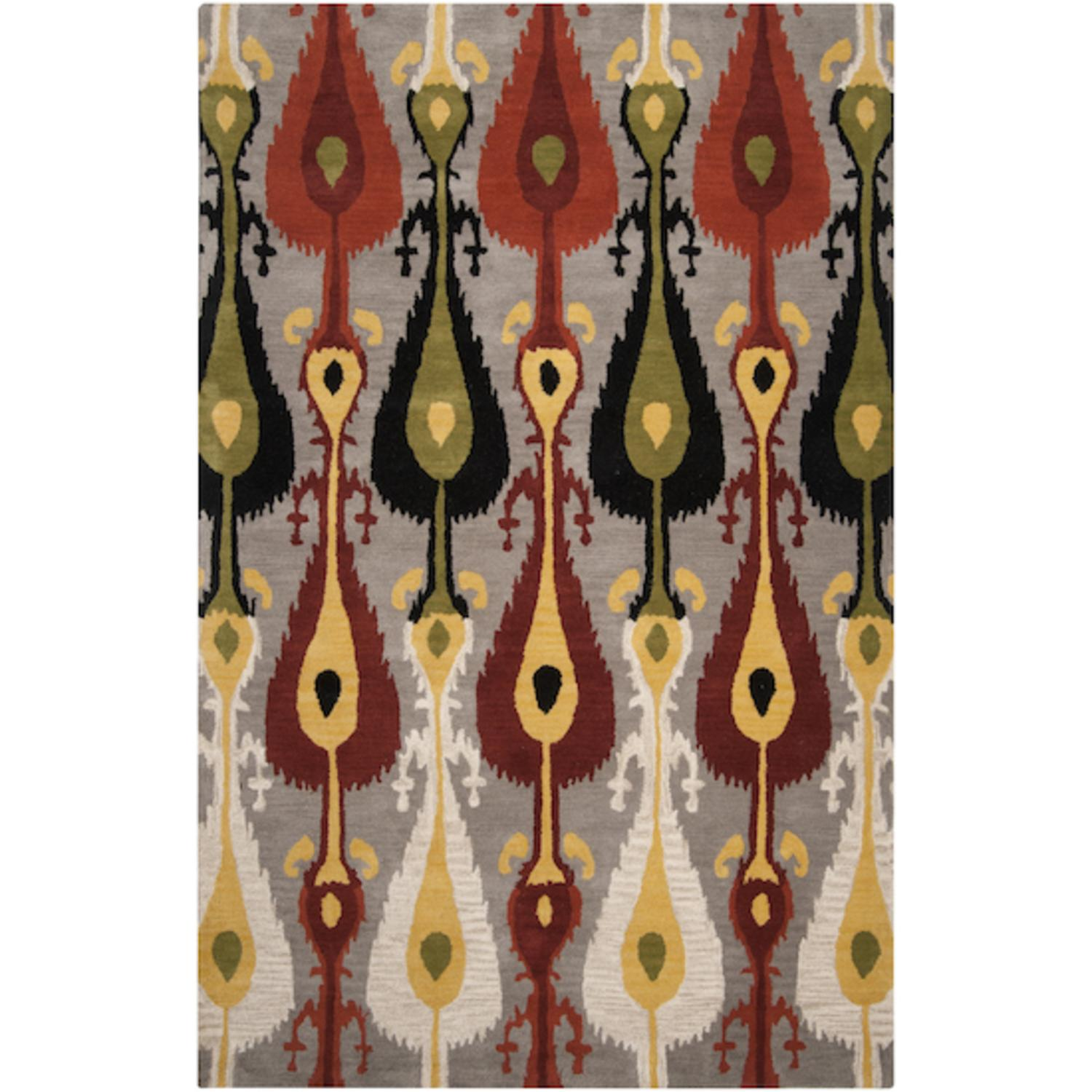 3.25' x 5.25' Arabian Mirage Avocado, Terra Cotta, Wheat and Black Wool Area Rug