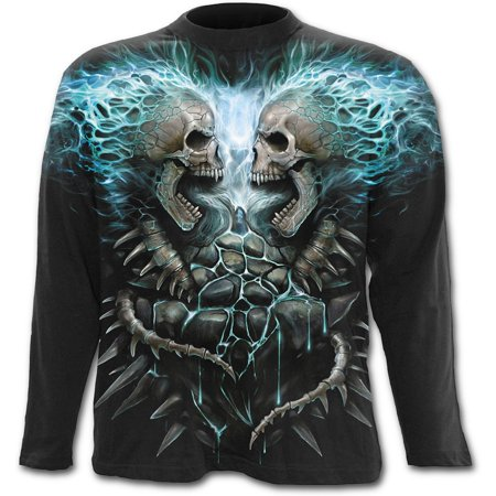 Paint Tribal Flames - Spiral Direct FLAMING SPINE Cotton Allover Longsleeve T-Shirt BlackAlloverPrint |Skeleton |Flames |Tribal