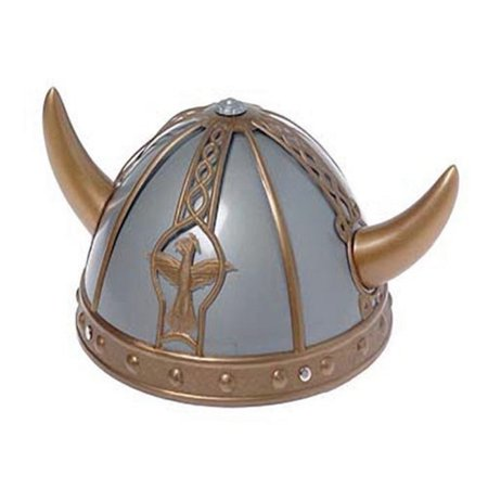 Child Plastic Gold and Silver Viking Helmet Hat with Horn Barbarian Warrior - Vikings Hat With Horns