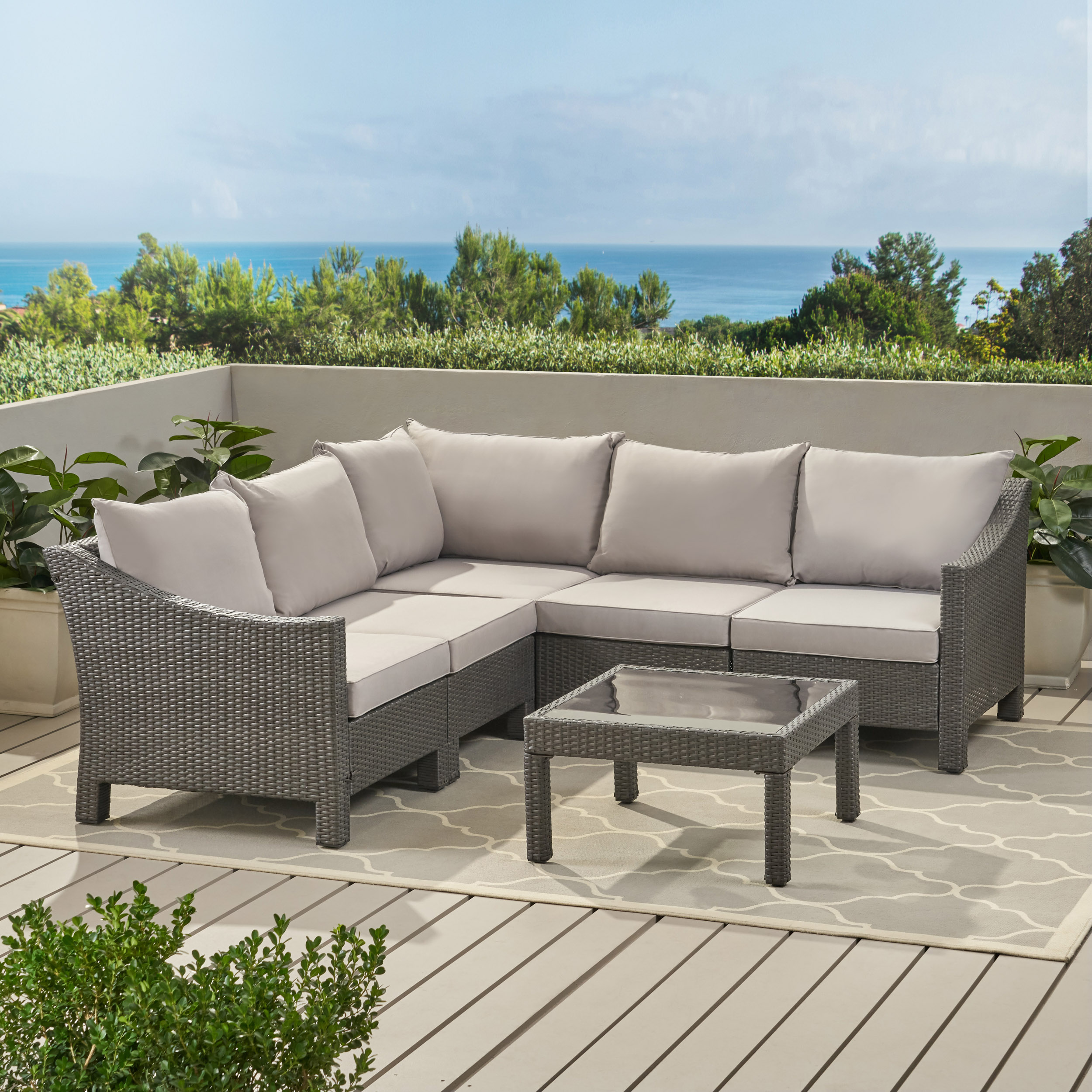 Caspian 6 Piece Outdoor Wicker