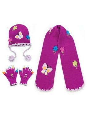 Girls Purple Butterfly Hat Scarf Gloves Handmade Winter Set