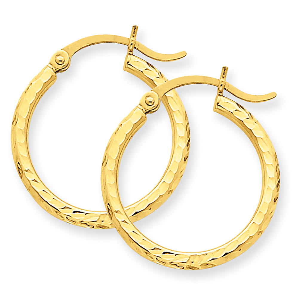 14k Yellow Gold D/C 2mm Round Tube Hoop Earrings TC233