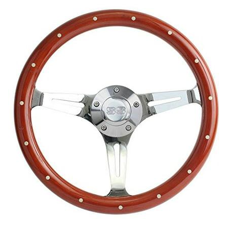 Solid Chrome Billet (New World Motoring 1967 Camaro Mahogany & Chrome Steering Wheel, SS Horn & Billet Adapter 15