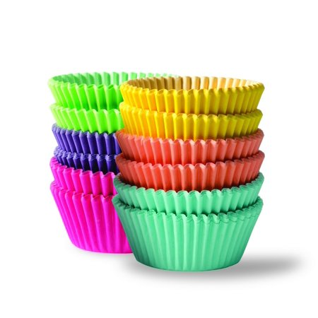 300 Piece Rainbow Colored Paper Baking Cups - Cupcake, Muffin, and Mini Cake Liners , Assorted Cake Wrappers, VIBRANT: These cupcake holders.., By BaHoki Essentials - Bandana Cupcake Wrappers