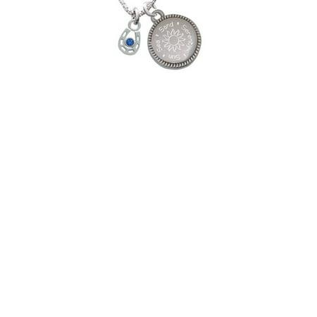 Silvertone Mini Horseshoe with Blue Crystal Sun Sea Sand Serenity Engraved Necklace - Blue Horseshoe