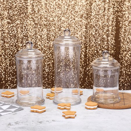 "BalsaCircle Clear 3 pcs 7"" 9"" 10"" tall Glass Apothecary Jars with Lids - Wedding Party Candy Gift Packaging Decorations Supplies"