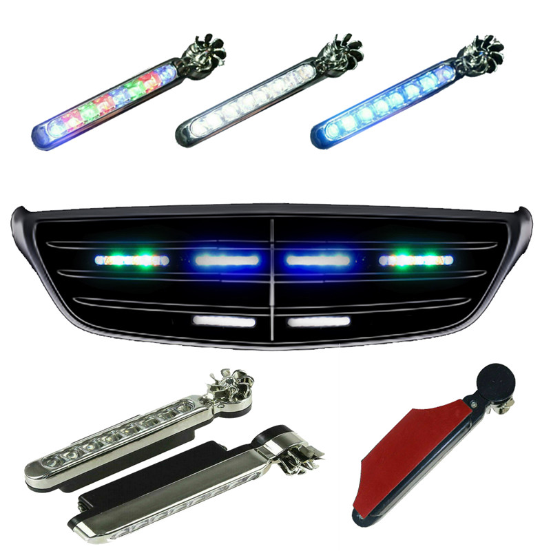 Wind Driven Car Front Lights with Fan Rotation for Car Fog Warning 8 LEDs